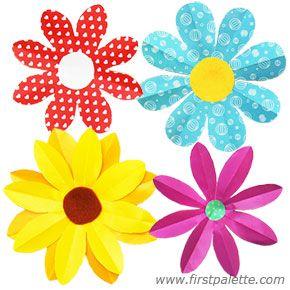 Folding Paper Flowers Craft 8 Petal Flowers Spring Art Project