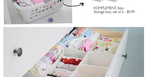 Ikea storage boxes for baby drawer organization