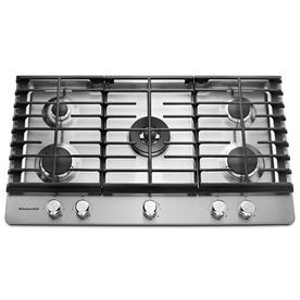 Shop Kitchenaid 5 Burner Gas Cooktop Stainless Steel Common 36 In Actual 36 In At Lowes Com Gas Cooktop Stainless Steel Cooktop Kitchen Aid