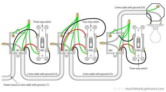 4 way switch with the the power source via the switch ...  Way Wiring Diagram Power on
