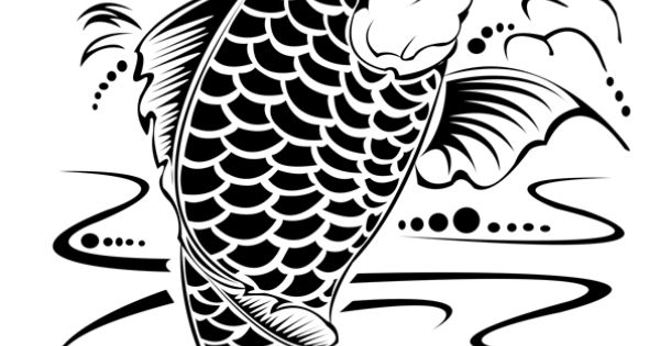 Coloriage poisson carpe koi encre de chine sur for Vente de carpe koi japonaise