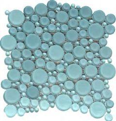 Ctm Round Bubbles Gl Tile Mosaic 300 Bahia Blue
