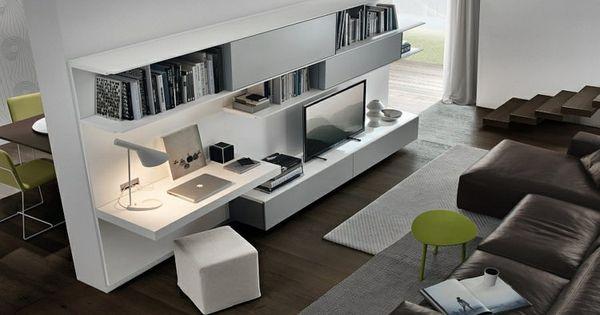 Aménagement de bureau moderne dans un salon design !  Bureaus ...