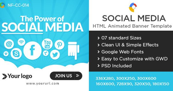 Social Media Html5 Banners 7 Sizes Banner Ads Animated Banners Social Media