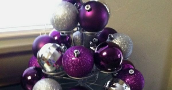 Christmas ornaments on cupcake stand - holiday table centerpiece / decoration