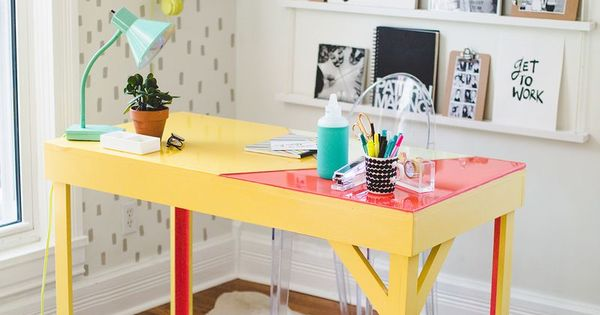 Desk I Love 80s : Diy colorful epoxy topped desk office pinterest