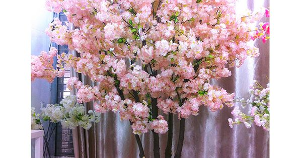 160 Heads Silk Artificial Natural Vertical Cherry Blossom Flowers For Wedding Party In 2020 Artificial Cherry Blossom Tree Artificial Flower Bouquet Artificial Flowers