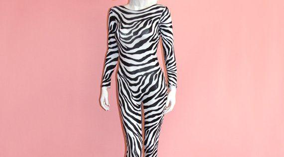 Zebra Print Catsuit Spandex Jumpsuit Unitard Bodysuit