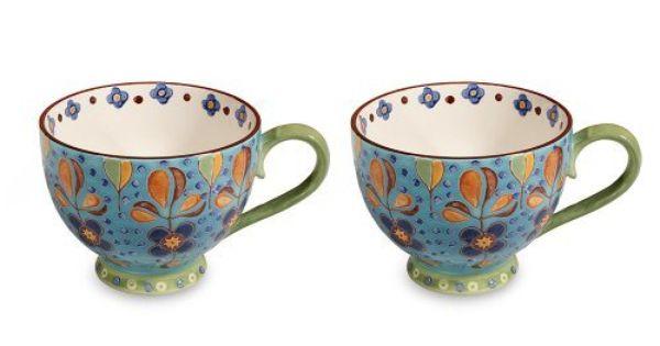 Gracie China 14 Ounce Dutch Wax Hand Paint Ceramic Jumbo