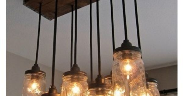 mason jar light fixture for the dining room I love this idea!!!!