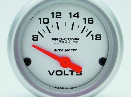 Autometer Ultra Lite 52mm Short Sweep Electronic Voltage Gauge Gauges Autometer Gauges Electricity