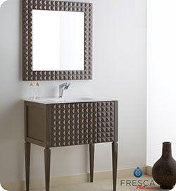 32 Fresca Platinum Diamond Glossy Taupe Modern Bathroom Vanity