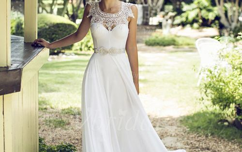 Brautkleider - $154.04 - A-Linie/Princess-Linie U-Ausschnitt Bodenlang Chiffon Brautkleid mit Spitze Perlen
