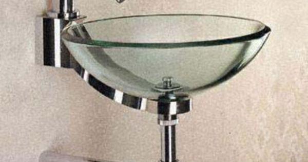 Sinks Bathoom Bowl Glass Sink With Chrome Trim For Small