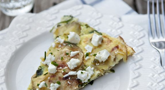 Spinach Frittata with Feta Recipe | Spinach Frittata, Roasted Potatoes ...