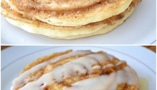 Oh my! These Cinnamon Roll Pancakes look delish. There are directions for