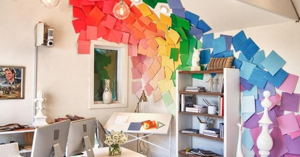 Paint chip wall hanging by extreme makeover home design for Extreme interior design home decor