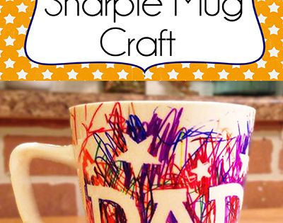 Toddler And Kids Fathers Day Sharpie Mug Craft Gift Idea www.iheartartsncrafts.com