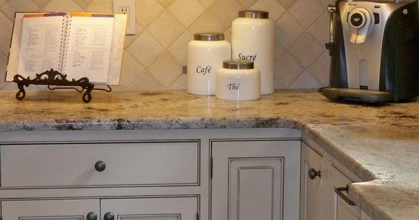 Butter cream glazed kitchen cabinets kitchen tour for Butter cream colored kitchen cabinets