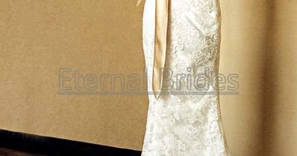 White/Ivory V-neckline Lace Wedding Dress Mermaid Gown with belt sweep train on