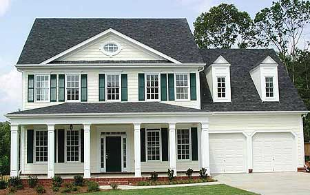 Classic Center Hall Home Plan Colonial House Plans Colonial House Exteriors Colonial Exterior