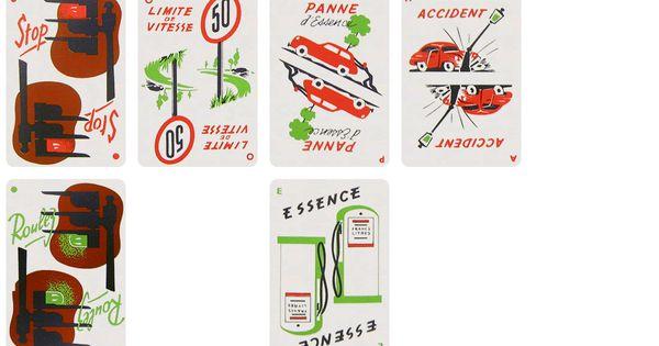 1000 bornes mille bornes cards 1954 for Dujardin 1000 bornes