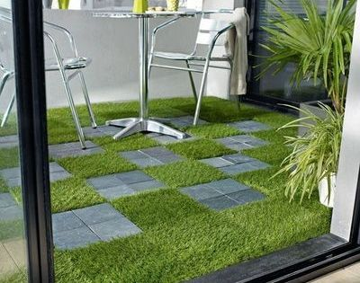 rev tements de terrasse dalles d rouler ou clipser faux gazon effet m tal fake grass. Black Bedroom Furniture Sets. Home Design Ideas