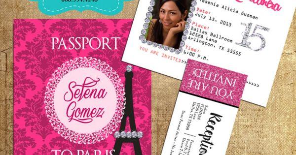 Paris Pink Passport Invitations with Ticket Reception Pass   Paris Quinceanera Party   Pinterest ...