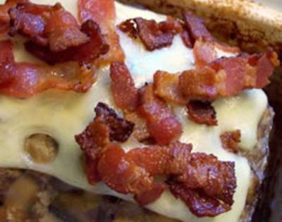 Bacon Mushroom Swiss Meatloaf Recipe Main Dishes with bacon, white onion, button