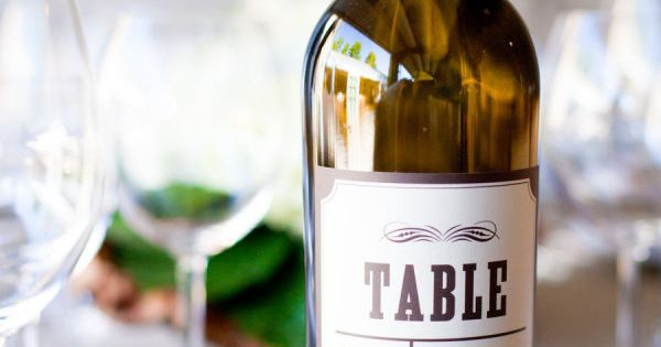 Wine bottle table number labels