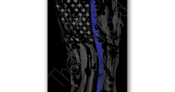 Ripped And Tattered Thin Blue Line American Flag By