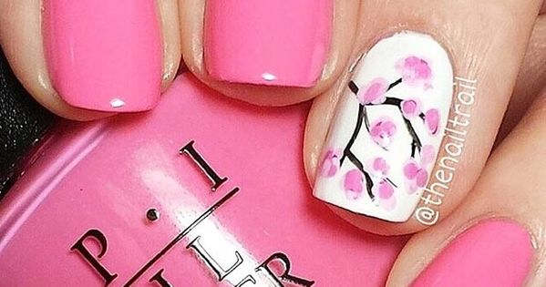 80 Nail Designs For Short Nails Cherry Blossom Nails