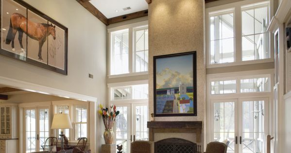 Impressive Living Room High Ceiling With Fancy Wood