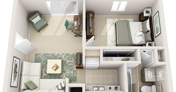 1 Bedroom Junior 3d Plan Apartment Floor Plans Sims House Design Apartment Layout