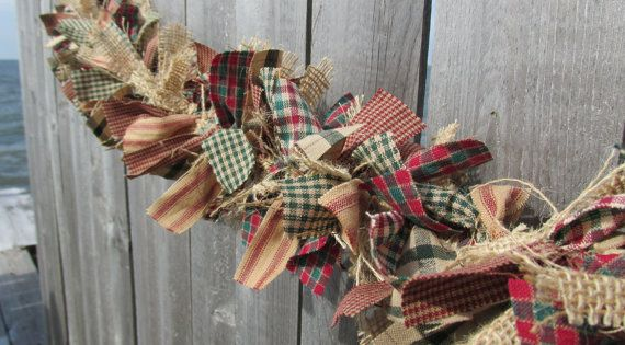 I can make this too. Antique Christmas Garland Burlap Homespun Fabric Jute