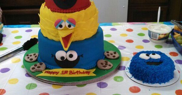 1st Birthday -- 4 layer cake: Oscar = vanilla, Elmo = red velvet ...