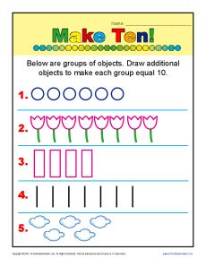 Make Ten Addition Kindergarten Math Worksheets Kindergarten Math Worksheets Addition Kindergarten Math Worksheets Make equal groups year worksheet