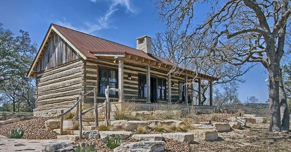 Log cabin in the texas hill country landscape for Laughlin cabins