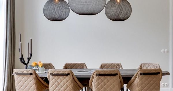Dramatic pendant lights great with a