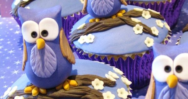 Purple Owl Cupcakes: White chocolate raspberry mud cakes with white chocolate ganache