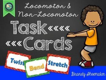 P E Movement Cards Locomotor Non Locomotor Skills Cue Cards Elementary Pe Cards