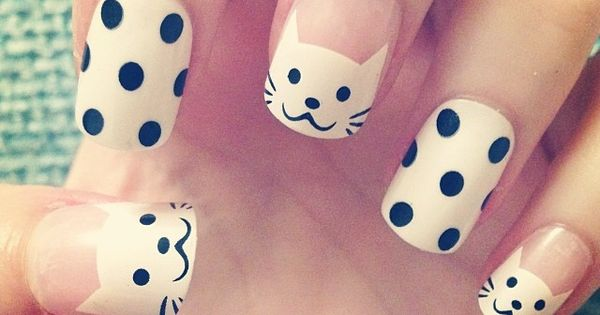 Cute cat nails. Dot nail art. dotticure nailart