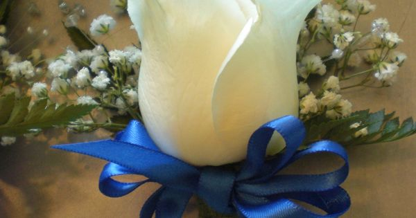 Wedding Boutonniere White Rose Baby S Breath Leather