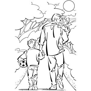 Dad Walking With Daughter And Son Coloring Pages Coloring Book Pages Coloring Books
