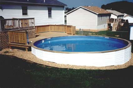 Freedom above ground pool installed partially inground for Above ground pool siding ideas