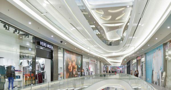 Rzesz W City Center Shopping Mall Circulation Area Interior Ceiling Design Rzesz W Poland