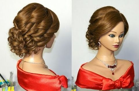 Bridal Curly Updo Hairstyles For Medium Hair. Прическа на свадьбу, прическа на