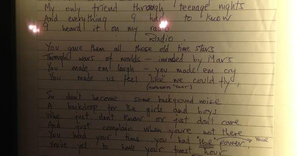 Freddie mercury 39 s handwritten lyrics to radio ga ga - Michael in the bathroom sheet music ...