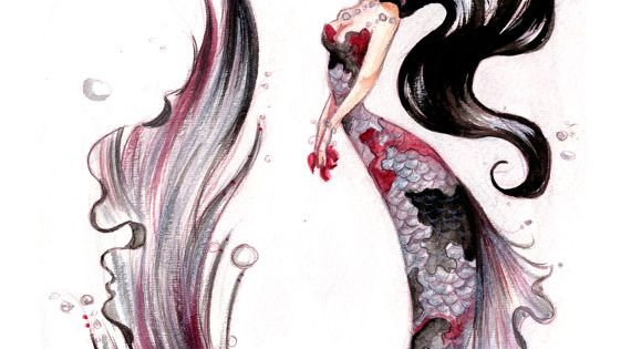 Silver koi fish mermaid print illustration pinterest for Silver koi fish