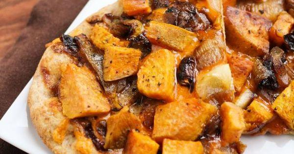 Sweet Potato & Caramelized Onion BBQ Cheddar Pizza | Food ...